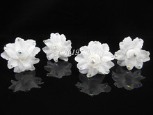Free shipping  10PCS   White Rose Silky Flower Crystal Bridal Wedding Prom Hair Clip Hair Pins H92