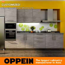 7 Days Delivery Blum Hardware Wood Grain Laminate kitchen cabinet from factory guangzhou OP14-K007