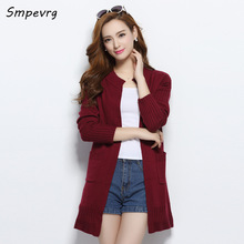 smpevrg 2017 New Fashion Casual Loose soft cashmere Knit sweater ro-neck Lady Sweaters Thick long Coat Wool Women Cardigan Jacke