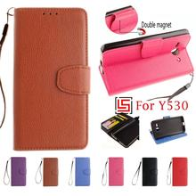 PU Leather Flip Clamshell Filp Wallet Walet Phone Mobile Cell Case Cover Cove For Huawei Ascend Y530 Y530-U00 Black Red Brown