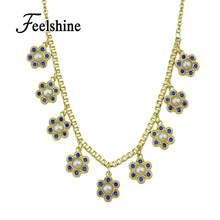 Women Jewelry Gold-Color Chain Simulated Pearl Blue Rhinestone Flower Collar Necklace Fashion Bijoux