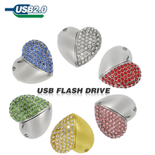 Color diamond usb flash drive 64GB heart pen drive 32GB USB stick 8GB 16GB U disk memory stick flash card pen drive pendrive(China)