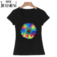 2017 Brand Summer New Sunflower Printed Women T Shirt Cotton Short Sleeve tshirts O-neck Fashion loose top tees