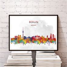 Classic city BERLIN kraft paper wall sticker home living room bedroom cafe bar decor retro poster print painting free ship