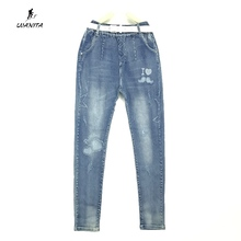 Good Quality Factory Price 2017 New Kids Girls Big Size Jeans With Belt Kids Girls Washed Denim Elastic Waist Pants Age 11-20Yrs