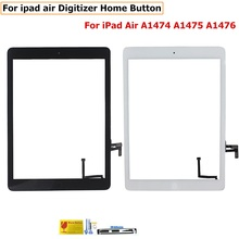 Tested Working Replacement For iPad 5 ipad Air1 Touch Screen A1474 A1475 A1476 Front Glass Panel With Buttons Free Shipping
