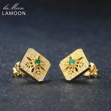 LAMOON Fine Jewelry Womens Stud Earring S925 Carved Hollow 0.06ct 100% Natural Emerald 925 Sterling Silver Jewelry Earrings(China)