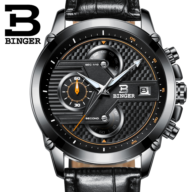 Watches Men Luxury Top Brand BINGER New Fashion Mens Big Dial Designer Quartz Watch Male Wristwatch relogio masculino relojes<br>