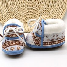 Newborn Baby First Walkers Winter Soft Soled Cotton Fabric Toddler Retro Print Warm Shoes