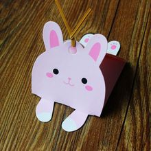 Cute animals,candy packaging box,Handmade soap box include twist tie (Pink rabbit) 30pcs/lot