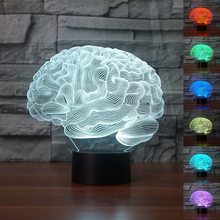 USB Novelty Light Human Brain Carebellum 3D Optical Illusion Lamp 7 Color Changing Nightlight Touch Desk Table Light Home Decor(China)