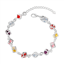 2017 new luxury AAA color crystal bracelet female silver plated jewelry simple charm of the goddess exquisite bracelet gift(China)