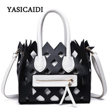 New Ladies  Hollow Out Shoulder Bag Designer Smiling Women Purses and Handbag Fence Shape Pu Leather Fashion Women Bag