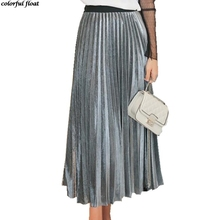 2017 spring new metal pleated skirt A word Elastic high waist long Crumpled skirts Download Medium length Gold silver black(China)