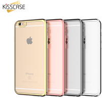 KISSCASE Gold Plated Frame TPU Case For Apple iPhone 6 6s Plus Case Ultra Thin Clear Phone Cover For iPhone 6 6s Luxury  Shell