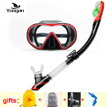 YOOGAN Profession snorkel gear One window tempered dive mask Dry snorkel gears Adult scuba diving and snorkeling equipment gears