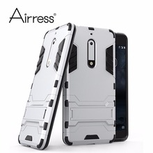Airress Hard & Soft Hybrid Defender Kickstand Cover Protective Phone case for Nokia 5(China)