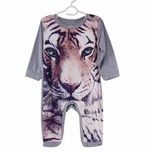 2017 Hot Newborn Kids Baby Boy Girls Infant Panda Tiger Print Cute Lovely Jumpsuit Bodysuit Clothes Outfit baby boy clothes 0-2T