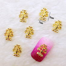 10Pcs/Lot 7*9mm Gold Potted Plants Tree Metal Alloy Nail Art Decorations 3D DIY Nail Stickers Jewelry Nail Charms(China)
