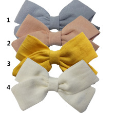 4 PCS Fabric bow Clips Hair bow Hair Clips Hair Barrettes Boutique Cloth Hairbow Hairgrips Kids Girl's Headwear Hair Accessories(China)