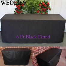 2Pcs/Set 6FT Fitted Black Trestle Table Cover Foldable Wedding Party Table Cloth Black Outdoor Furniture Cover 183X76X72cm