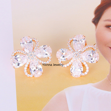 E321431 new luxurious white CZ flower crystal earring Zinc Alloy rose gold color with high quality zircon fashion women jewelry(China)