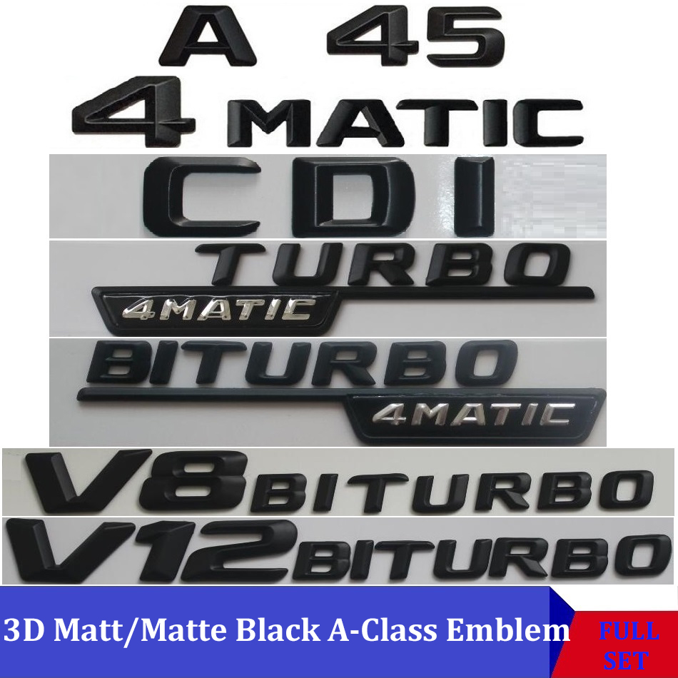 """Matte Black /""""CLA45 AMG 4MATIC TURBO//////AMG/"""" Number Emblem Sticker for Mercedes"""