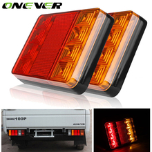 2Pcs Waterproof 8 Car LED Tail Light Rear Lamps Pair Boat Trailer 12V Rear Parts For Trailer Truck Car Lighting(China)