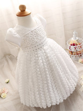 Girls First Year Birthday Newborn Dress Princess Diamond Girl Dresses White Formal Christening Infant Gown Dress Clothes Red 1-2
