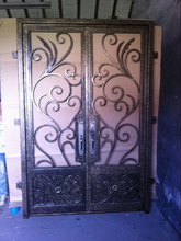 Custom design Wrought Iron Entry Double Doors Wrought Iron Entry Doors id-54(China)