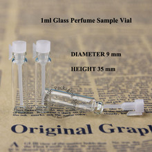 300pcs Wholesale 1ml Glass Perfume Bottle Vial Mini 1/10OZ Sample Test Pot Small Liquid Vial Cosmetic Container Empty Refillable(China)