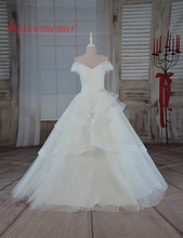 2017 hot sale high quality of the shoulder short sleeve Wedding Dress Bridal gown floor length wedding gown factory supplier(China)