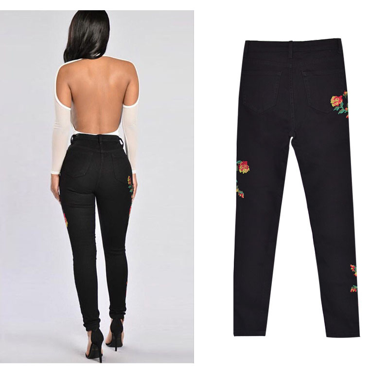 2017 European and American women hot high waist Slim stretch front and rear side cross embroidery roses cowboy pants pants pants (8)