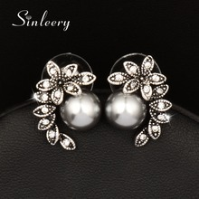 SINLEERY Hot Fashion Gray Simulated Pearl Earrings Stud Antique Silver Color Zircon Leaf Shape Jewelry For Women Girl Es525(China)