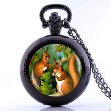 Vintage Squirrel Art Bijoux Squirrel Pocket Watch Necklace Woodland Animal Lover Gift, Gass Dome Necklace(China)