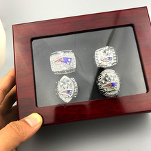 sports football jewelry Amazing quality New England Patriots super bowl replica World Championship Ring set 4 pcs(China)