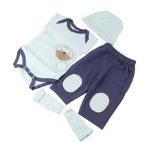 New 4 pcs Baby Doll Clothes Sets Have Hat Shirt Trousers Socks Suit 22-23 Inch Reborn Dolls Cute Boy Clothing Doll DIY Game Part(China)