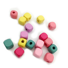 Hot Selling Square Cube Wood Spacer Beads 10mm Candy Color Wooden beads Children Kids DIY Jewelry Crafts 100pcs