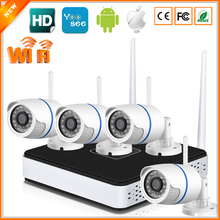 Simple To Use Real P2P Plug & Play Wireless CCTV Surveillance System 4 PCS 720p/960p Outdoor Wifi Security Camera & Wifi NVR Kit