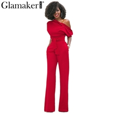 Glamaker Cold shoulder bandage jumpsuit Elegant slim brief winter jumpsuit romper Work office business long pants playsuit 2017(China)