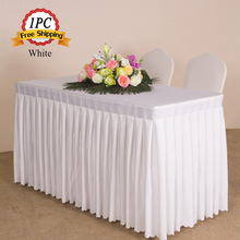 Free Ship 1PC Luxury 100% Polyester Table Cloth Oval White Pleated Table Cover for Wedding Party Meeting Decor Hotel Table Skirt(China)