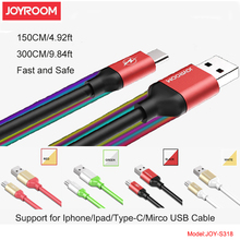 NEW 1.5m 3m Long Extended USB Cable for iPhone 6S 7Plus SE iPad  / Micro for Samsung HTC LG / TYPE-C Fast Charge Cord with Pack
