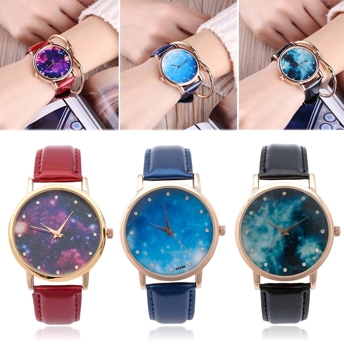 Shellhard Fashion Elegant Women\`s Casual Star Sky Leather Watch Space Pattern Rhinestone Leather Quartz Wrist Watch Ladies Gift