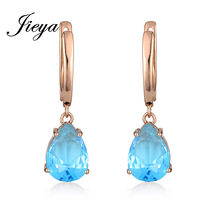 Classic Big Water Drop Long Earrings Gold 585 Light Blue Cubic Zirconia Wedding Jewelry Bohemian Vintage Chandelier Earrings