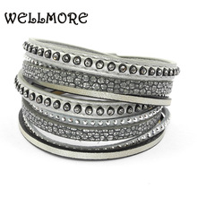 Buy WELLMORE leather bracelet tow wrap bracelets magnet buckle winding bracelet Bohemian bracelets&bangles women B161005 for $3.80 in AliExpress store