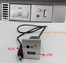 Silver car 2in1 AUX USB Slot Interface With Mini USB Cable Adapter accessories For Ford Focus usb aux