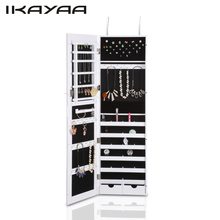 iKayaa Fashion Mirrored Hanging Jewelry Armoire Cabinet Jewelry Storage Box Organizer Over the Door/Wall Mounted(China)