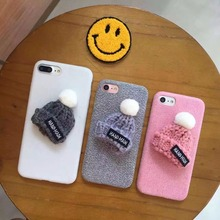 Korea Super Cute Fashion 3D Wool Hat Flannelette Plastic Case Cover For Iphone 6Plus 5.5inch