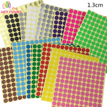 HEY FUNNY 3sheet Multicolor color Diameter 13mm Coloured Dot Stickers Round Sticky Adhesive Spot Circles Paper Labels(China)