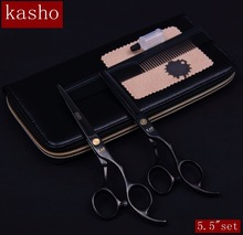 "kasho 5.5""set professional hairdresser's scissors hairdressing scissors hair cutting scissors barber thinning shears sale(China)"
